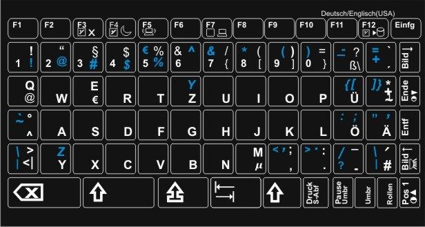 Tastaturaufkleber Deutsch-Englisch - TASTATURAUFKLEBER für